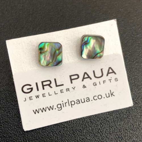 Paua Stud Earrings PE04 Square Natural Extra Small